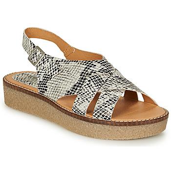 Zapatos Mujer Sandalias Kickers VICTORYNE Blanco / Negro / Serpiente