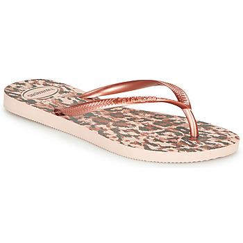 Zapatos Mujer Chanclas Havaianas SLIM ANIMALS Rosa / Oro