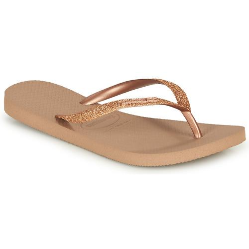 Zapatos Mujer Chanclas Havaianas SLIM GLITTER Rosa / Gold