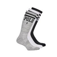 Accesorios Hombre Calcetines Polo Ralph Lauren 3PK DBLE BAR-CREW-3 PACK Blanco / Gris / Negro