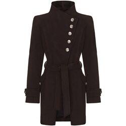 textil Mujer trench Anastasia Abrigo Asimétrico de Invierno Con Botones Múltiples Black