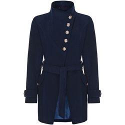 textil Mujer trench Anastasia Abrigo Asimétrico de Invierno Con Botones Múltiples Blue