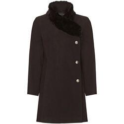 textil Mujer Abrigos De La Creme Abrigo de Cuello de Piel Asimétrico de Invierno Para Mujer Black