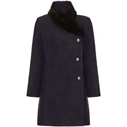 textil Mujer Abrigos De La Creme Abrigo de Cuello de Piel Asimétrico de Invierno Para Mujer Grey