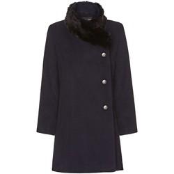 textil Mujer Abrigos De La Creme Abrigo de Cuello de Piel Asimétrico de Invierno Para Mujer Blue