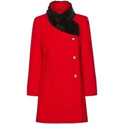 textil Mujer Abrigos De La Creme Abrigo de Cuello de Piel Asimétrico de Invierno Para Mujer Red