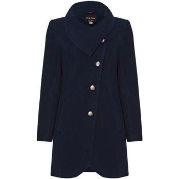 textil Mujer Abrigos De La Creme Abrigo de Invierno con Cierre Asimétrico Para Mujer Blue
