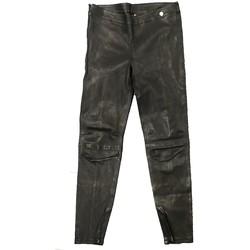 textil Mujer Pantalones fluidos Rich & Royal Pantalon Noir Cuir 13Q997 Negro