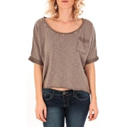 textil Mujer Tops / Blusas Sweet Company Pull Clous Dorés Taupe Marrón