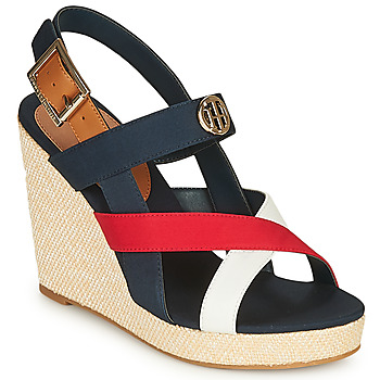 Zapatos Mujer Sandalias Tommy Hilfiger BASIC HARDWARE HIGH WEDGE SANDAL Azul / Blanco / Rojo