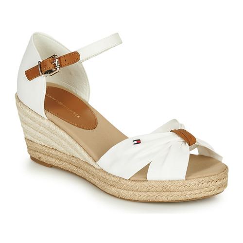 Zapatos Mujer Sandalias Tommy Hilfiger BASIC OPENED TOE MID WEDGE Blanco