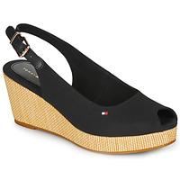 Zapatos Mujer Sandalias Tommy Hilfiger ICONIC ELBA SLING BACK WEDGE Negro