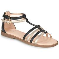 Zapatos Niña Sandalias Geox J SANDAL KARLY GIRL Negro / Oro