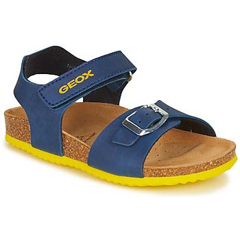 Zapatos Niño Sandalias Geox J GHITA BOY Azul / Amarillo