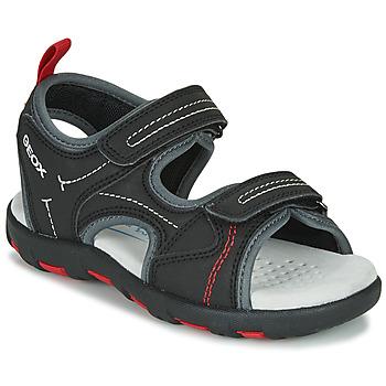 Zapatos Niño Sandalias de deporte Geox JR SANDAL PIANETA Negro / Rojo