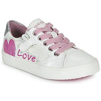 Zapatos Niña Zapatillas bajas Geox J GISLI GIRL Blanco / Rosa / Plateado