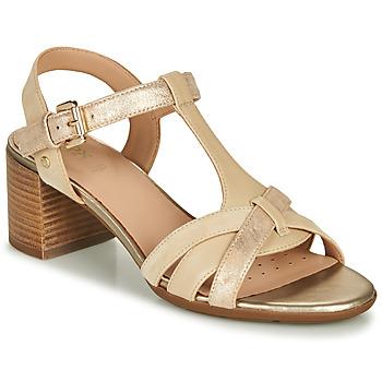 Zapatos Mujer Sandalias Geox D MARYKARMEN MID SAN Beige / Oro