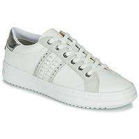 Zapatos Mujer Zapatillas bajas Geox D PONTOISE Blanco / Plata