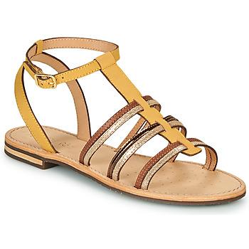 Zapatos Mujer Sandalias Geox D SOZY Amarillo / Marrón / Oro