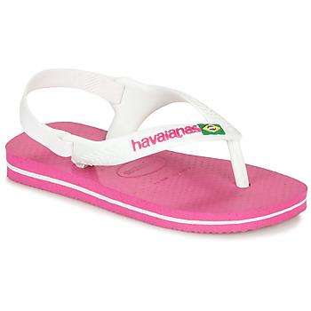 Zapatos Niña Chanclas Havaianas BABY BRASIL LOGO II Pink / Blanco
