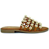 Zapatos Mujer Sandalias Exé Shoes SANDALIA PLANA JAULA TACHUELAS CAMEL VF603-2 Color Camel/ Coral