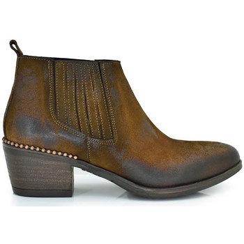 Zapatos Mujer Low boots Exé Shoes BOTINES BAJOS TALÓN DECORADO BELA-562 Color Cuero