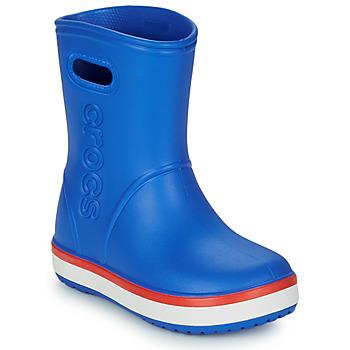 Zapatos Niños Botas de agua Crocs CROCBAND RAIN BOOT K Azul / Rojo