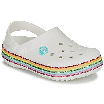 Zapatos Niña Zuecos (Clogs) Crocs CROCBAND RAINBOW GLITTER CLG Blanco