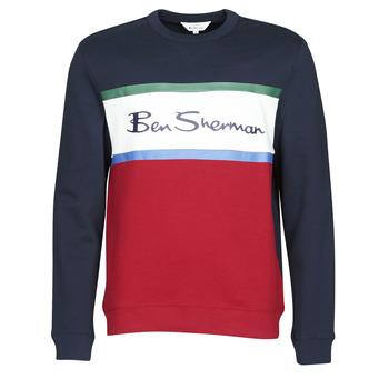 textil Hombre sudaderas Ben Sherman COLOUR BLOCKED LOGO SWEAT Marino / Rojo