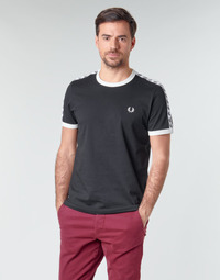 textil Hombre Camisetas manga corta Fred Perry TAPED RINGER T-SHIRT Negro