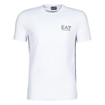 textil Hombre camisetas manga corta Emporio Armani EA7 TRAIN LOGO SERIES M TAPE TEE ST Blanco