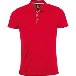 textil Hombre Polos manga corta Sols PERFORMER MEN SPORT Rojo