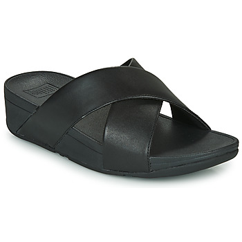 Zapatos Mujer Zuecos (Mules) FitFlop LULU CROSS SLIDE SANDALS - LEATHER Negro