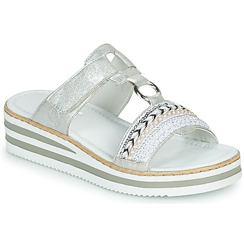 Zapatos Mujer Zuecos (Mules) Rieker CLOZ Plata / Blanco