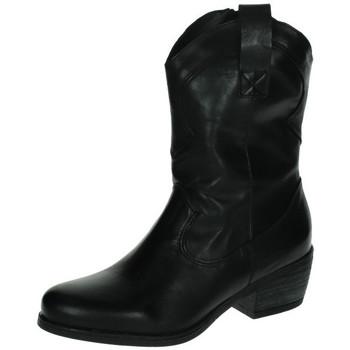 Zapatos Mujer Botas de caña baja Moda Bella Botin cowboy Negro