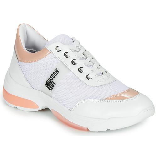 Zapatos Mujer Zapatillas bajas Love Moschino RUN LOVE Blanco / Rosa
