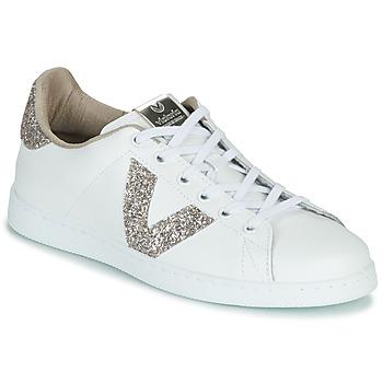 Zapatos Mujer Zapatillas bajas Victoria TENIS PIEL GLITTER Blanco / Rosa