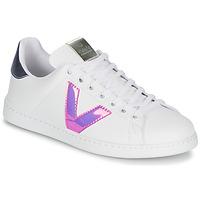 Zapatos Mujer Zapatillas bajas Victoria TENIS VINILO Blanco / Azul