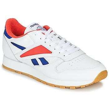 Zapatos Hombre Zapatillas bajas Reebok Classic CL LEATHER MARK Gris / Blanco / Rojo