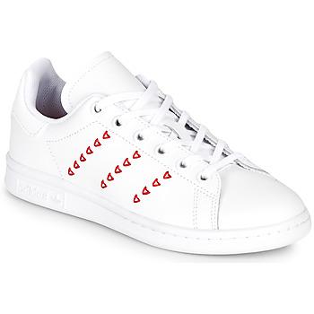 Zapatos Niña Zapatillas bajas adidas Originals STAN SMITH J Blanco / Rojo / Cur