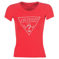 textil Mujer camisetas manga corta Guess SS RN SPARKLE TEE Rojo