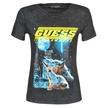 textil Mujer Camisetas manga corta Guess SS CN NEON TEE Negro