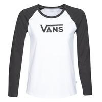 textil Mujer Camisetas manga larga Vans FLYING V LS RAGLAN Blanco / Negro