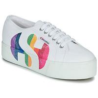 Zapatos Mujer Zapatillas bajas Superga 2790-COTWPRINTEDLOGOGLITTER Blanco