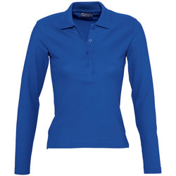 textil Mujer polos manga larga Sols PODIUM COLORS Azul