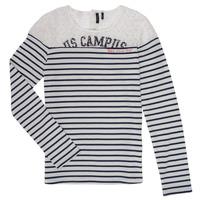 textil Niña Camisetas manga larga Ikks DELLYSE Blanco / Negro