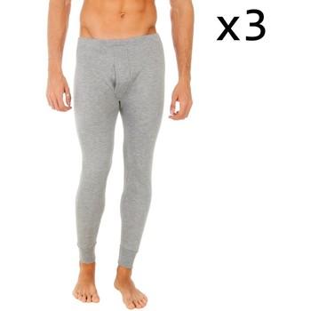 Ropa interior Hombre Calzoncillos Abanderado Pack-3 pantalon interior fibra largo Gris