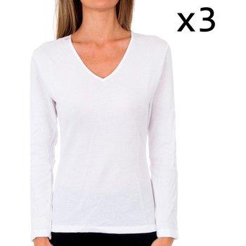 Ropa interior Mujer Camiseta interior Abanderado Pack 3 camiseta liberty m/l blanco Blanco