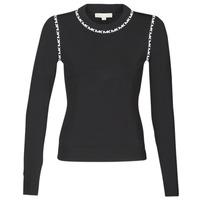 textil Mujer jerséis MICHAEL Michael Kors MK TRIM LS CREW Negro