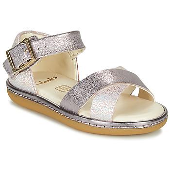 Zapatos Niña Sandalias Clarks SKYLARK PURE T Plata / Rosa